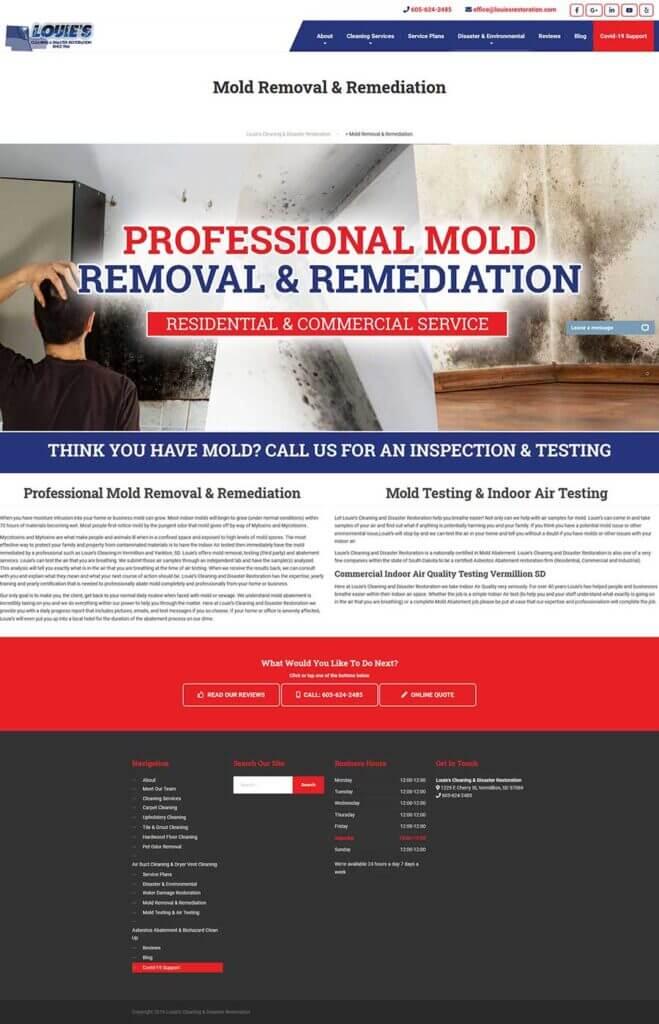 Louies Disaster Restoration website
