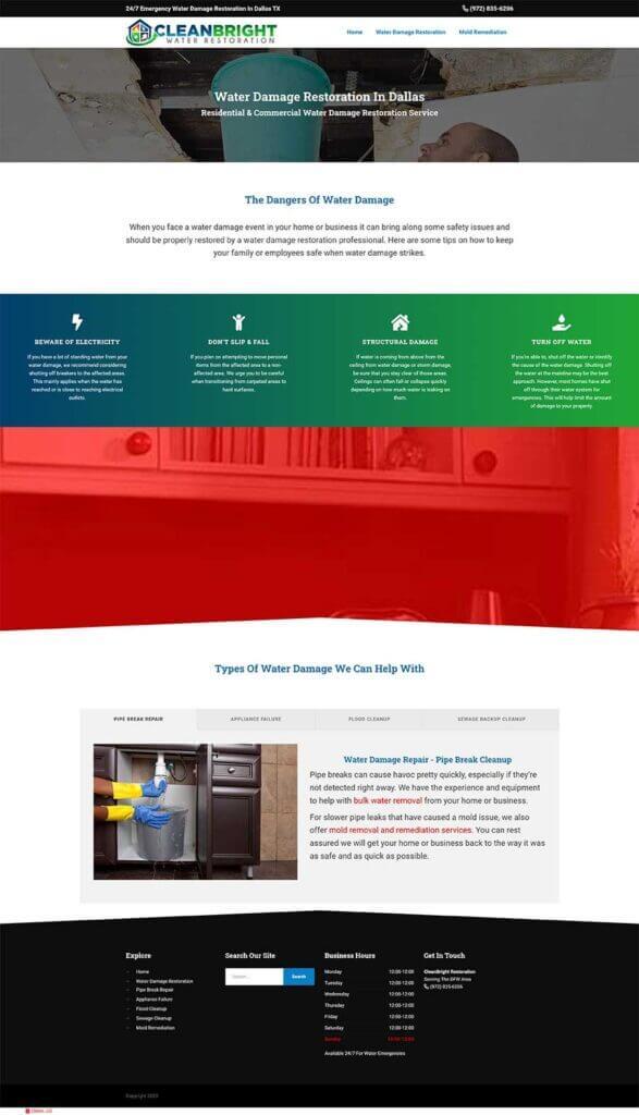 water damage website design