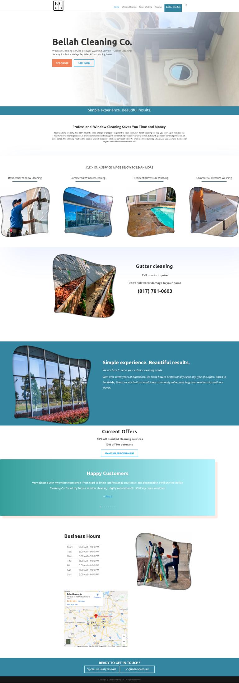 desktop view of window cleaning websites