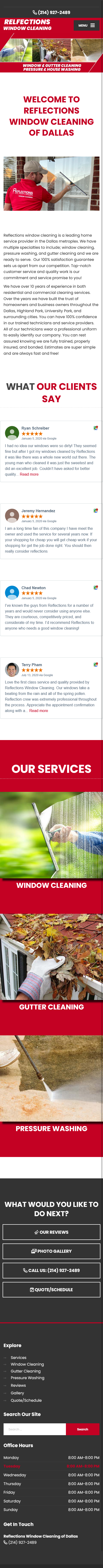window cleaning company mobile website design